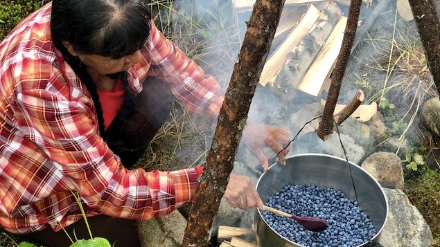 Télesh s'apprête à brasser les bleuets frais.