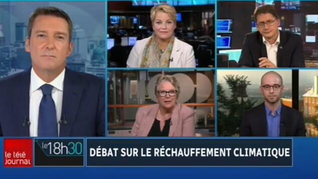 Patrice Roy discute avec quatre candidats qui apparaissent aussi à l'écran.