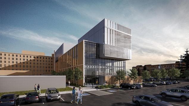 Un croquis de l'hôpital avec le nouveau pavillon.