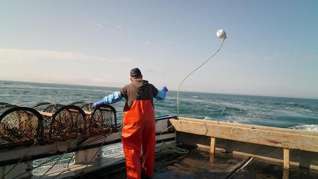 Un pêcheur lance une bouée à l'eau. Il se trouve sur un bateau et est entouré de casiers pour la pêche au homard.