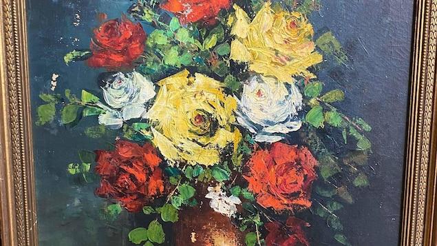 Tableau d'un bouquet de fleurs.