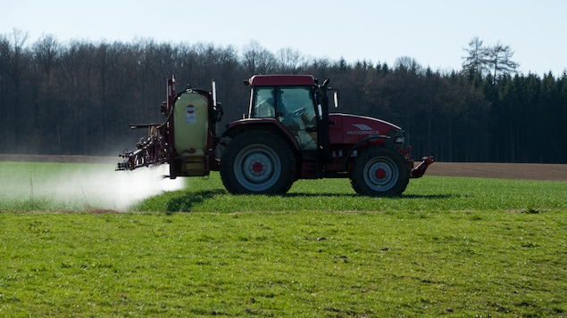 Un agriculteur arrose de pesticides un champ.