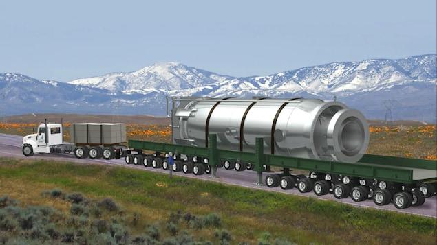 Une illustration montre un module d'alimentation à l'échelle 1 sur un camion.