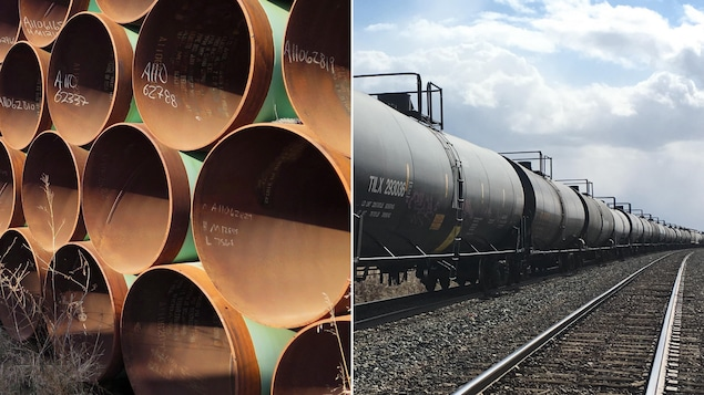 Un train de wagons de pétrole et une section de l'oléoduc Keystone XL.