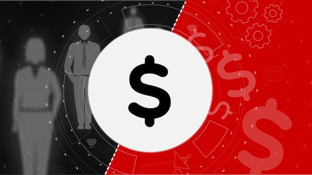 Une image noir et rouge avec un signe de dollar qui représente le système de paye Phénix.