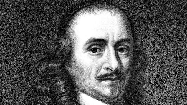 Un portrait en noir et blanc représentant l'écrivain et dramaturge Pierre Corneille.