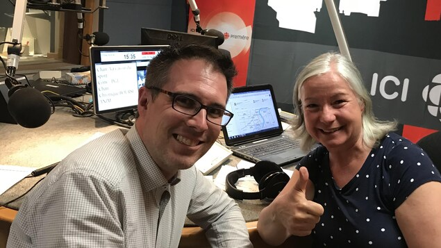 Pierre-GabrielTurgeon et Martine Bordeleau en studio