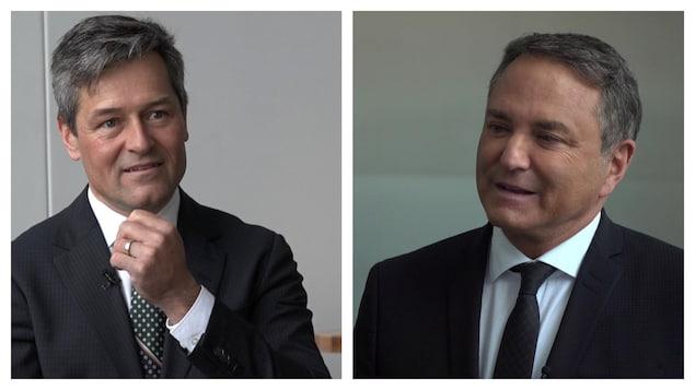 Un montage avec la photo de l'animateur du Téléjournal Québec Bruno Savard et le présentateur du bulletin de nouvelles de TVA-Québec Pierre Jobin.