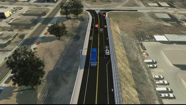 La maquette des aménagements pour les cyclistes sur le pont Jacques-Cartier.