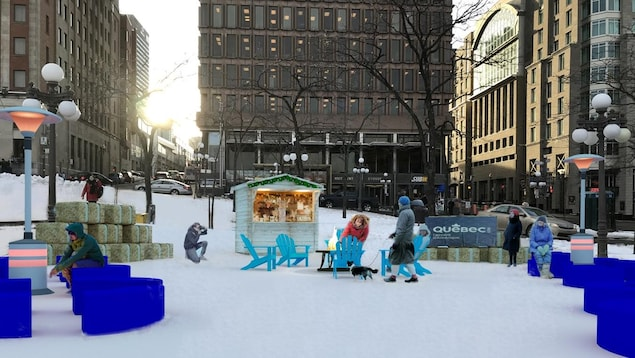 Maquette d'une place éphémère intallée à la Place D'Youville, avec un feu pour se réchauffer, des bancs et une petite boutique