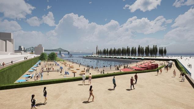 Du sable et des parasols autour d'un plan d'eau dans lequel se baignent des gens.