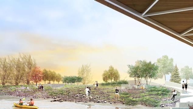 Vue d'artiste représentant les utilisateurs de la future plage