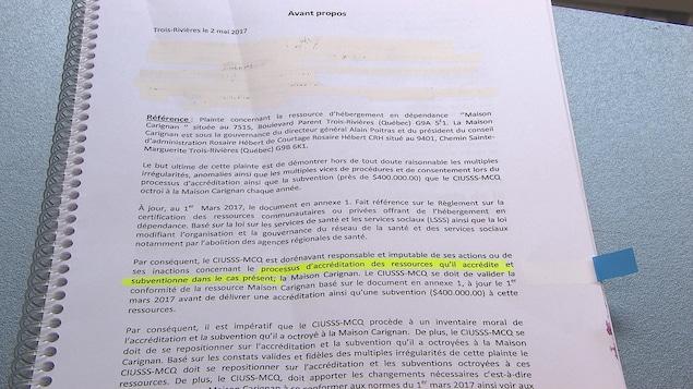 Une plainte a été déposée au CIUSSS-MCQ concernant la Maison Carignan.