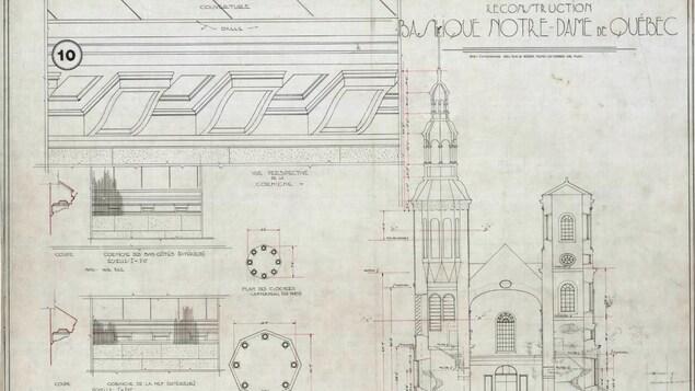 Plan architectural de la basilique-cathédrale Notre-Dame de Québec