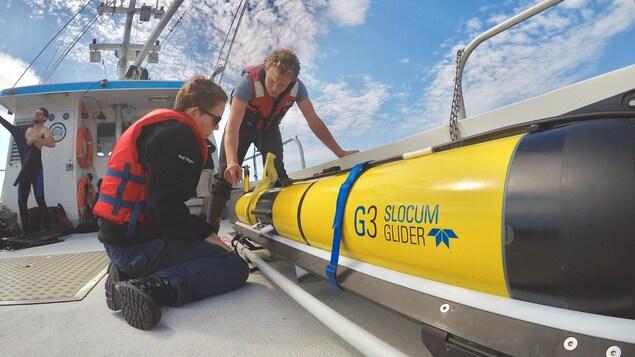 Des techniciens océanographiques de l'Université Dalhousie vérifient le troisième planeur qui sera déployé dans le golfe du Saint-Laurent pour recueillir des renseignements sur les baleines noires.