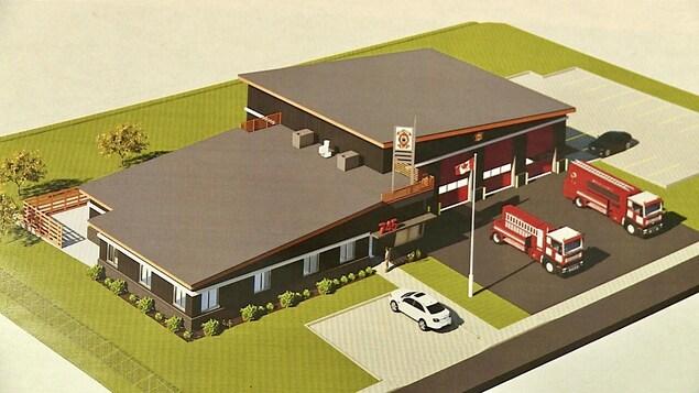 Un dessin d'architecte montre la caserne de l'extérieur.