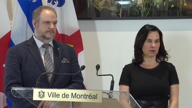 Valérie Plante et Benoit Dorais en conférence de presse
