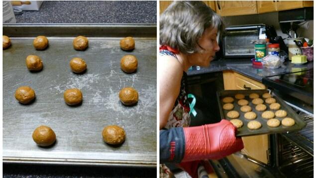 La pâte à biscuits et les biscuits cuits