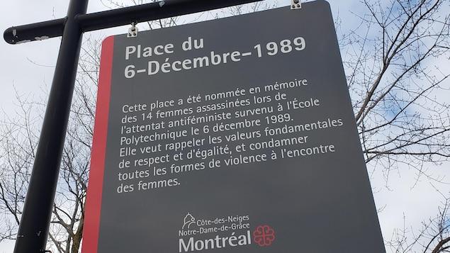 Il est écrit sur le panneau : « Cette place a été nommée en mémoire des 14 femmes assassinées lors de l'attentat antiféministe survenu à l'École polytechnique le 6 décembre 1989. Elle veut rappeler les valeurs fondamentales de respect et d'égalité, et condamner toutes les formes de violence à l'encontre des femmes. »