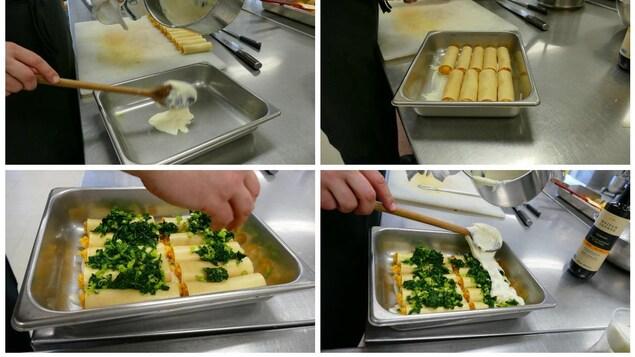 Luc prépare le plat de cannellonis pour le four.