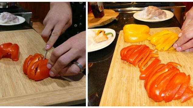 Sur une planche en bois, une main coupe les poivrons jaunes et rouges.