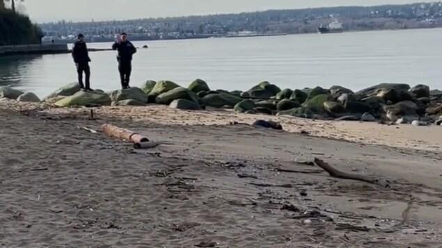 Deux policiers de Vancouver attendent les services médicaux près d'un cadavre à Third Beach sur le Sea Wall.