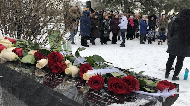 Des roses rouges et blanches déposées sur plaque commémorative et des personnes debout solennellement
