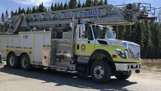Un camion de pompier de la Ville d'Amos.