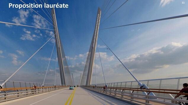 Les piétons et les cyclistes auront droit à des voies dédiées dans chacune des directions.