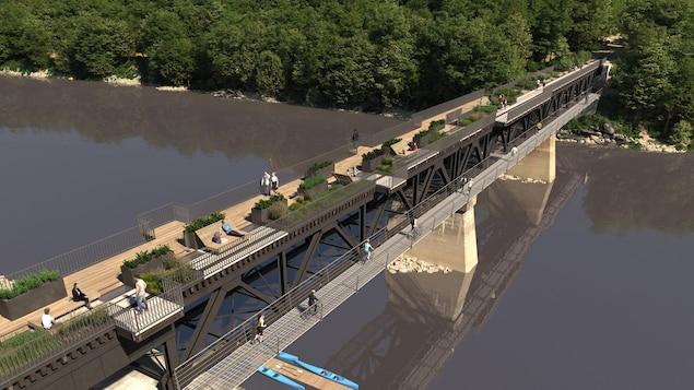 Un pont ferroviaire transformé en piste multifonctionnelle.