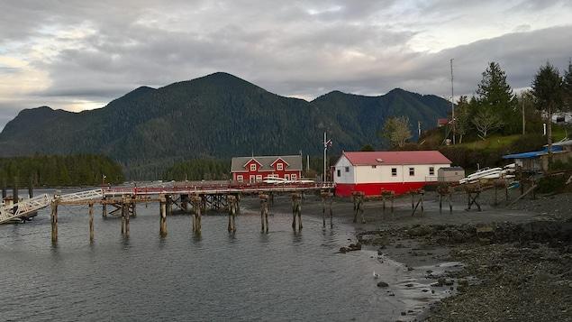 Un ponton et deux maisons dans le port de Tofino avec des montagnes boisées au loin