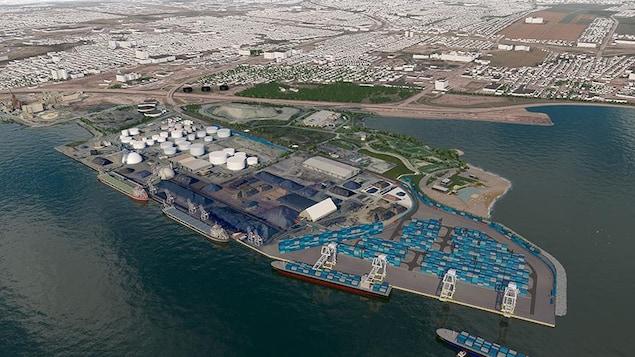 Projet d'extension du terminal de conteneurs, dans la baie de Beauport.