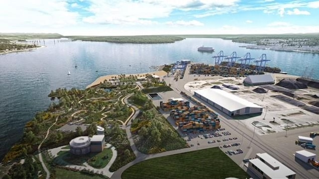 Vue aérienne du projet de parc urbain.