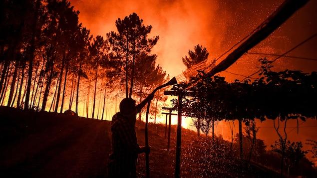 Un homme tente d'éteindre les flammes intenses avec un boyau d'arrosage.