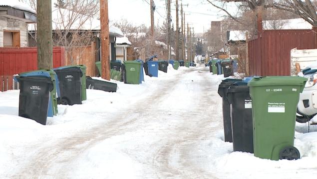 Des poubelles bleues, vertes et noires attendent d'être ramassées dans une ruelle de Calgary.