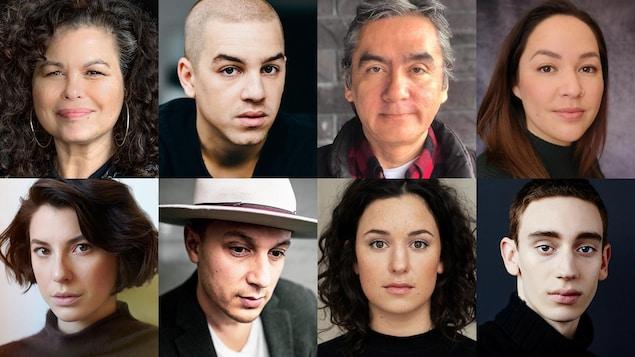 Une mosaïque avec les visages de 8 comédiens.
