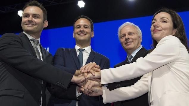 Paul St-Pierre Plamondon, Alexandre Cloutier, Jean-François Lisée et Martine Ouellet