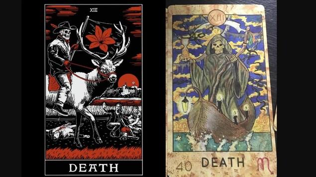 La carte de tarot de Prairie Harm Reduction représentant la mort (à gauche) et une carte de tarot traditionnelle représentant la mort (à droite).