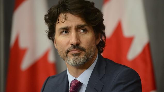 Justin Trudeau lors d'un point de presse.