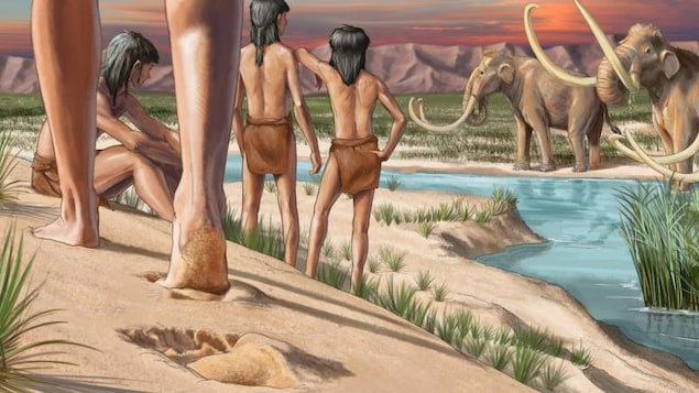 Dessin d'enfants regardant des mammouths.