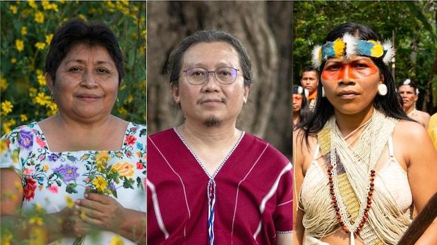 De gauche à droite: Leydy Pech, Nemonte Nenquimo et Paul Sein Twa, lauréats du prix Goldman pour l'Environnement
