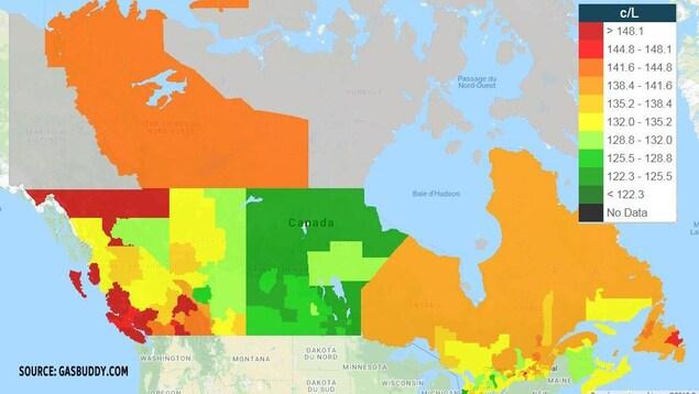 Prix de l'essence au Canada par secteur