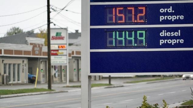 Un panneau indique que le litre d'essence se détaille à 1,57 $ à Rimouski.