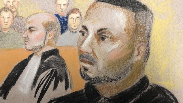 Un dessin de cour illustrant Sofiane Ghazi.