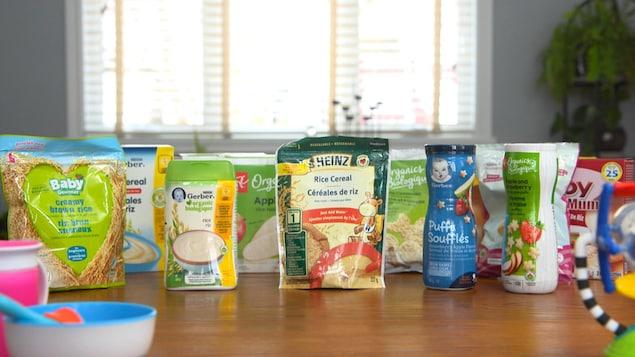 On voit divers produits posés sur une table.