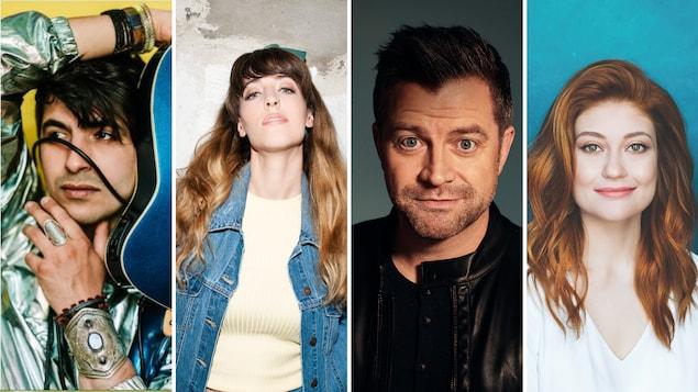 Une image regroupant les visages de 4 artistes.