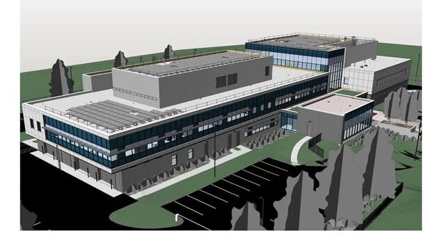 Plan architectural proposé du nouveau poste de police de la GRC à Moncton.