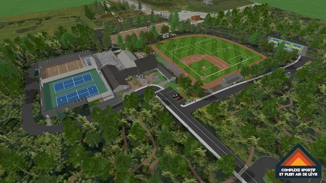 Le projet de complexe sportif et plein air de Lévis comprend entre autres des terrains intérieurs de tennis et de volleyball de plage en plus d'une surface de jeu synthétique