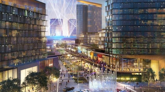 Un photo du projet de complexe commercial Royalmount à l'angle des autoroutes 15 et 40 qui prévoit une passerelle piétonnière et cyclable au-dessus de l'autoroute Décarie.