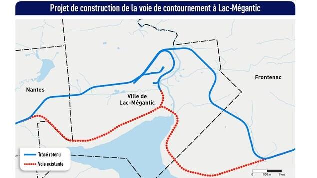 Le tracé retenu de la voie de contournement ferroviaire de Lac-Mégantic.